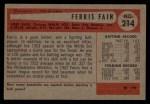 1954 Bowman #214  Ferris Fain  Back Thumbnail