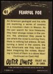 1964 Topps / Bubbles Inc Outer Limits #41   Fearful Foe  Back Thumbnail