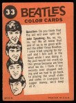 1964 Topps Beatles Color #33   Beatles in the water Back Thumbnail