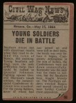 1962 Topps Civil War News #66   Victim of the War Back Thumbnail