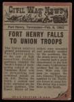 1962 Topps Civil War News #5   Exploding Fury Back Thumbnail
