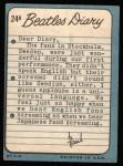 1964 Topps Beatles Diary #24 A Paul McCartney  Back Thumbnail