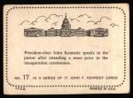 1964 Topps JFK #17   JFK-Elect Kennedy After Mass Back Thumbnail