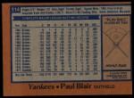 1978 Topps #114  Paul Blair  Back Thumbnail