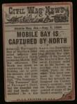 1962 Topps Civil War News #76   Blazing Cannon Back Thumbnail