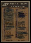 1962 Mars Attacks #55   Checklist  Back Thumbnail
