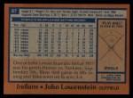 1978 Topps #87  John Lowenstein  Back Thumbnail