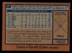 1978 Topps #27  Geoff Zahn  Back Thumbnail