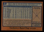 1978 Topps #89  Ken Clay  Back Thumbnail