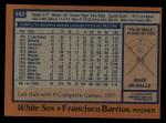 1978 Topps #552  Francisco Barrios  Back Thumbnail