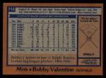 1978 Topps #712  Bobby Valentine  Back Thumbnail