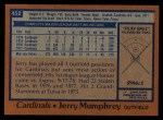 1978 Topps #452  Jerry Mumphrey  Back Thumbnail