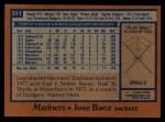 1978 Topps #311  Jose Baez  Back Thumbnail