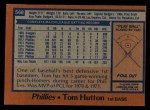1978 Topps #568  Tom Hutton  Back Thumbnail