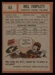 1962 Topps #93  Mel Triplett  Back Thumbnail