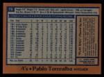 1978 Topps #78  Pablo Torrealba  Back Thumbnail