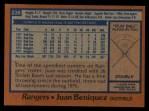 1978 Topps #238  Juan Beniquez  Back Thumbnail