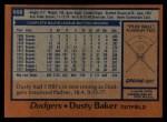 1978 Topps #668  Dusty Baker  Back Thumbnail
