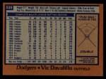 1978 Topps #539  Vic Davalillo  Back Thumbnail
