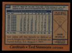 1978 Topps #380  Ted Simmons  Back Thumbnail