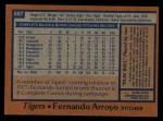 1978 Topps #607  Fernando Arroyo  Back Thumbnail