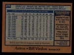 1978 Topps #279  Bill Virdon  Back Thumbnail