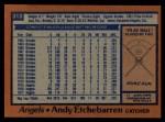 1978 Topps #313  Andy Etchebarren  Back Thumbnail