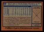 1978 Topps #247  Larry Christenson  Back Thumbnail