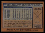 1978 Topps #130  Jeff Burroughs  Back Thumbnail