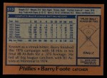 1978 Topps #513  Barry Foote  Back Thumbnail