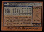 1978 Topps #172  Mike Hargrove  Back Thumbnail