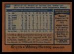 1978 Topps #299  Whitey Herzog  Back Thumbnail