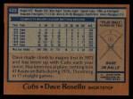 1978 Topps #423  Dave Rosello  Back Thumbnail