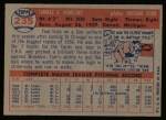 1957 Topps #235  Tom Poholsky  Back Thumbnail