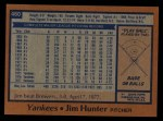 1978 Topps #460  Catfish Hunter  Back Thumbnail
