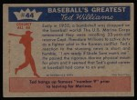 1959 Fleer #44   -  Ted Williams Back to Marines Back Thumbnail