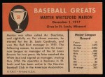 1961 Fleer #58  Marty Marion  Back Thumbnail