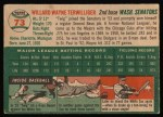 1954 Topps #73  Wayne Terwilliger  Back Thumbnail