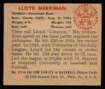 1950 Bowman #173  Lloyd Merriman  Back Thumbnail