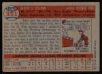 1957 Topps #351  Dave Hillman  Back Thumbnail