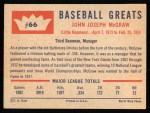 1960 Fleer #66  John McGraw  Back Thumbnail