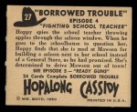 1950 Topps Hopalong Cassidy #27   Fighting school teacher Back Thumbnail