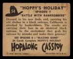 1950 Topps Hopalong Cassidy #54   Battle with bankrobbers Back Thumbnail