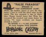 1950 Topps Hopalong Cassidy #81   The dangerous loan Back Thumbnail