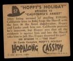 1950 Topps Hopalong Cassidy #57   California's arrest Back Thumbnail