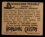 1950 Topps Hopalong Cassidy #36   California's trouble Back Thumbnail