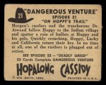 1950 Topps Hopalong Cassidy #21   On Hoppy's trail Back Thumbnail