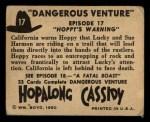 1950 Topps Hopalong Cassidy #17   Hoppy's warning Back Thumbnail