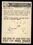 1959 Topps #136  Mike Sandusky  Back Thumbnail