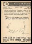 1959 Topps #129  Ollie Spencer  Back Thumbnail